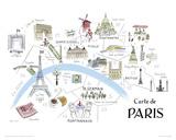 Carte de Paris Reproduction procédé giclée par Alice Tait
