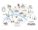 Map Of Paris Giclee Print by Alice Tait