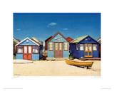 Three Beach Huts Giclee Print by Margaret Heath