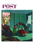 """Hat Bridge"" Saturday Evening Post Cover, January 25, 1958 Giclee Print by Thornton Utz"