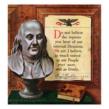 """Benjamin Franklin - Bust and Quote"", January 15, 1955 Giclee Print by John Atherton"