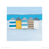 Summer Beach huts Giclee Print by Heidi Langridge