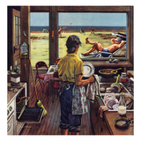 """""""Doing Dishes at the Beach"""", July 19, 1952 Giclee Print by Stevan Dohanos"""