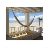 Beach House Hammock, Barbuda Giclee Print by Tom Mackie