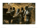 Blues On Gold Giclee Print by Charlie Mackesy