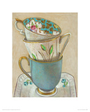 3 Cups on Saucer Giclee Print by Andrea Letterie