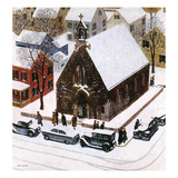 """Snowy Morning at Church"", January 6, 1951 Giclee Print by John Falter"