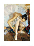 Ballerina Fixing Her Shoe Giclee Print by Vasily Bratanyuk