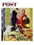 """Doggy Buffet"" Saturday Evening Post Cover, January 5, 1957 Giclee Print by Richard Sargent"