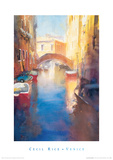 Canal With Orange Bridge Giclee Print by Cecil Rice