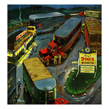 """Truck Stop Diner"", October 10, 1953 Giclee Print by Ben Kimberly Prins"