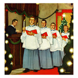 """Boys Christmas Choir"", December 26, 1953 Gicléetryck av Mead Schaeffer"