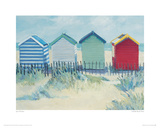 Suffolk Beach Huts Giclee Print by Jane Hewlett