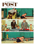 """New Toy Train"" Saturday Evening Post Cover, December 19, 1953 Giclee Print by Richard Sargent"