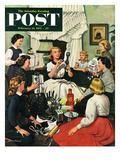 """Bridal Shower"" Saturday Evening Post Cover, February 26, 1955 Giclee Print by Stevan Dohanos"