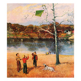 """Kite in the Tree"", March 10, 1956 Giclee Print by John Clymer"
