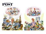 """Daydreaming Women (Gatefold Cover)"" Saturday Evening Post Cover, September 19, 1959 Giclee Print by Constantin Alajalov"