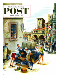 """Coed Tourists in Italy"" Saturday Evening Post Cover, August 2, 1958 Giclee Print by Constantin Alajalov"