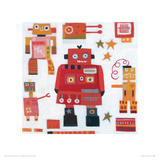 Red Robots Giclee Print by Anne Davies