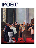 """Christening or Baptism"" Saturday Evening Post Cover, March 13, 1954 Giclee Print by George Hughes"