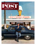 """Pete's Double Headers"" Saturday Evening Post Cover, September 22, 1951 Giclee Print by Stevan Dohanos"