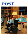 """Date with the Television"" Saturday Evening Post Cover, April 21, 1956 Giclee Print by John Falter"