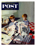 """Dinner Dishes"" Saturday Evening Post Cover, September 26, 1953 Giclee Print by George Hughes"