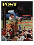"""""""Sleepy Inning"""" Saturday Evening Post Cover, April 23, 1955 Giclee Print by Earl Mayan"""