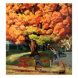 """Tossing the Football"", October 27, 1956 Giclee Print by John Falter"