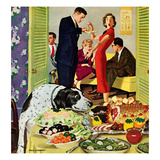 """Doggy Buffet"", January 5, 1957 Giclee Print by Richard Sargent"
