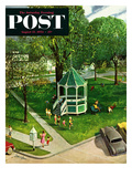 """Town Green"" Saturday Evening Post Cover, August 15, 1953 Giclee Print by John Clymer"