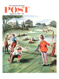 &quot;No Playing Through&quot; Saturday Evening Post Cover, August 31, 1957 Giclee Print by Constantin Alajalov