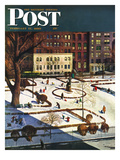 """Gramercy Park"" Saturday Evening Post Cover, February 11, 1950 Giclee Print by John Falter"