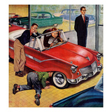 """Automobile Showroom"", December 8, 1956 Giclee Print by Amos Sewell"
