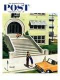 """First day of school"" Saturday Evening Post Cover, September 6, 1958 Giclee Print by Thornton Utz"