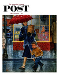 """Leaving Grocery in Rain"" Saturday Evening Post Cover, April 24, 1954 Giclee Print by Amos Sewell"