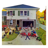 &quot;Building a Go-Cart&quot;, October 18, 1958 Giclee Print by Thornton Utz