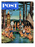 """Watermelon at Camp"" Saturday Evening Post Cover, August 1, 1953 Giclee Print by Stevan Dohanos"