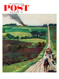 """Chasing the Fire Truck"" Saturday Evening Post Cover, June 30, 1956 Giclee Print by John Falter"