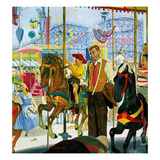 """Amusement Park Carousel"", August 9, 1958 Giclee Print by Earl Mayan"