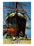 """Big Ship at Dock"", November 5, 1955 Giclee Print by John Falter"
