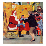 """Crying on Santa's Lap"", December 6, 1958 Giclee Print by George Hughes"