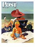 """Baby & Nail Polish"" Saturday Evening Post Cover, July 22, 1950 Reproduction procédé giclée par Stevan Dohanos"