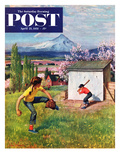 """Oregon Baseball"" Saturday Evening Post Cover, April 21, 1951 Giclee Print by John Clymer"