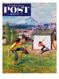 """Oregon Baseball"" Saturday Evening Post Cover, April 21, 1951 Giclee Print by John Clymer"