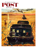 """""""Barges"""" Saturday Evening Post Cover, April 6, 1957 Giclee Print by Ben Kimberly Prins"""