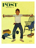 """Working Out"" Saturday Evening Post Cover, March 14, 1959 Reproduction procédé giclée par Kurt Ard"