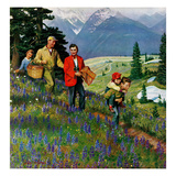 """Hiking in Mountains"", May 31, 1952 Giclee Print by John Clymer"