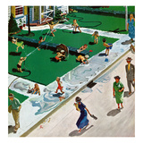 """Water Fight"", June 30, 1951 Giclee Print by Thornton Utz"