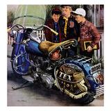 """""""Tex's Motorcycle"""", April 7, 1951 Giclée-Druck von Stevan Dohanos"""